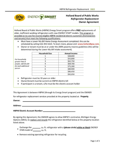 Energy Smart Refrigerator Replacement Owner Agreement Form