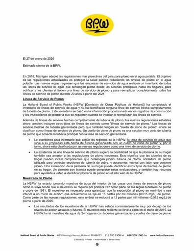 Spanish Lead Service Notification