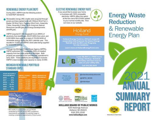 Energy Waste Reduction & Renewable Energy Plan Annual Summary