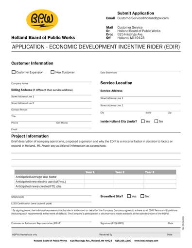 Economic Development Incentive (EDIR) Terms