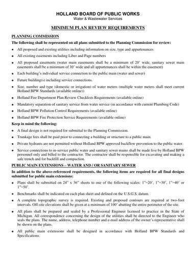 HBPW Minimum Plan Review Requirements