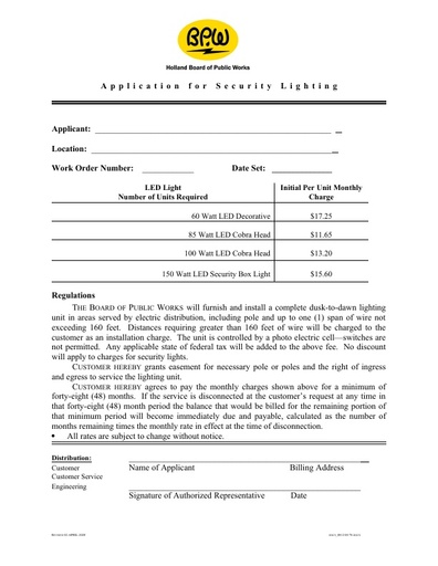 Security Lighting Application