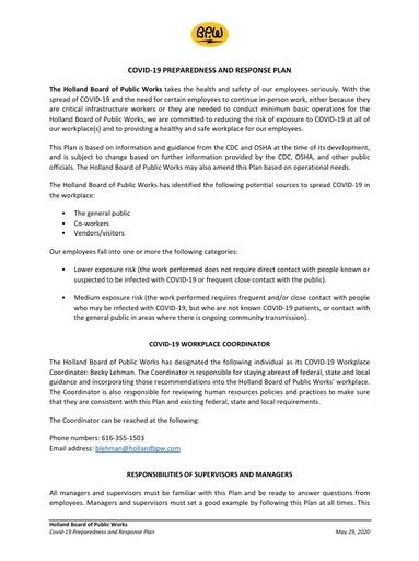 HBPW COVID-19 Preparedness and Response Plan