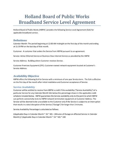 Broadband Service Level Agreement