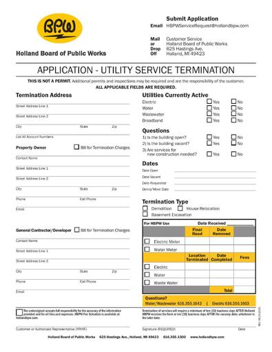 Utility Service Termination Form