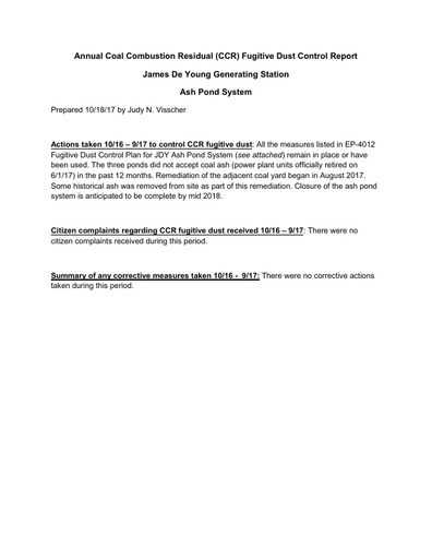 Annual CCR Fugitive Dust Control Report 2017