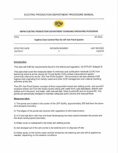 EP 4012 Fugitive Dust Control Plan for JDY Ash Pond System 11615PEs
