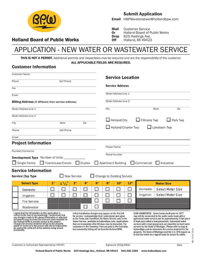 New Water or Wastewater Service Form