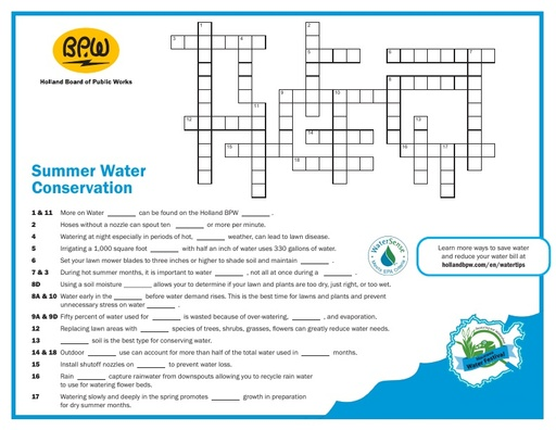 Crossword Puzzle - Water Conservation
