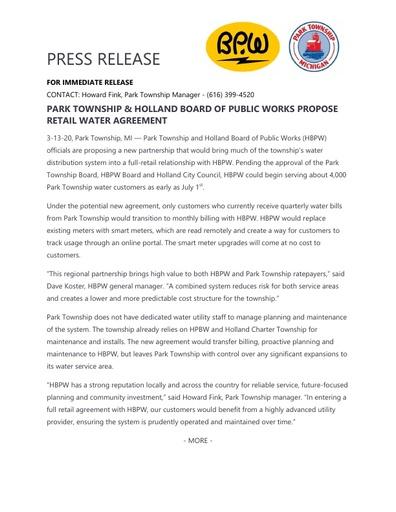 Park Township HBPW Partnership Proposal Release