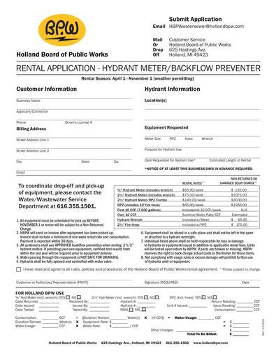 Hydrant Meter/Backflow Preventer Rental Form