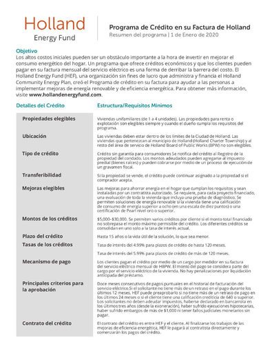 On Bill Loan - Programa de Crédito en su Factura de Holland - Spanish