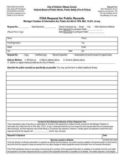 FOIA Freedom of Information Act Form